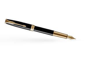 Перьевая ручка Parker Соннет, черный глянцевый лак, латунь, нержавеющая  1931527