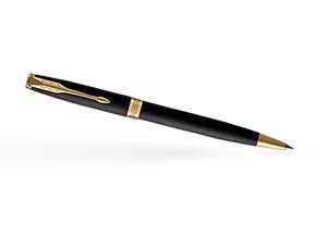 Шариковая ручка Parker Соннет, черный матовый лак, латунь, нержавеющая ст  1931519