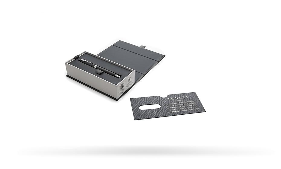 Шариковая ручка Parker Соннет, черный матовый лак, латунь, нержавеющая ст  1931525 351179315256