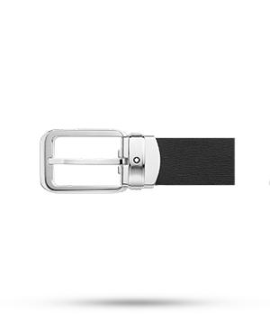 Ремень Montblanc Montblanc, прямоугольная пряжка, палладий, черный  114388