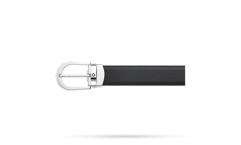 Ремень Montblanc, прямоугольная стальная пряжка, черный  114416