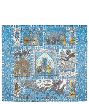 Шаль Gourji 1001 ночь, кашемир, голубой  T21SHKH8S'