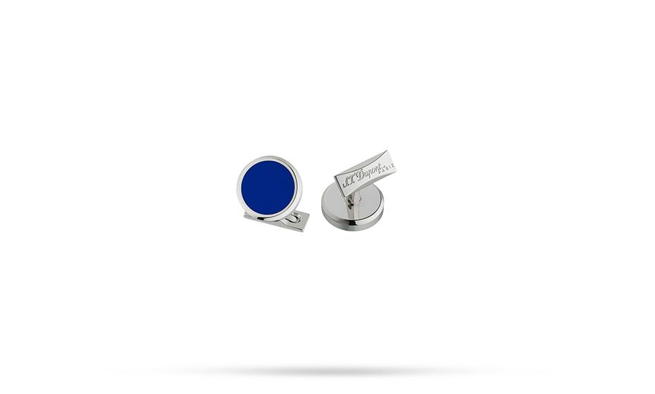 Запонки S.T. Dupont S.T. Dupont, круглые, синий лак, палладий  5531