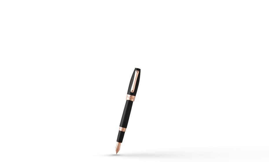 Перьевая ручка Montegrappa Fortuna, перо F, акриловая смола, позолота, черная  FORT-R-FP