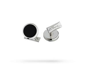 Запонки S.T. Dupont S.T. Dupont, круглые, черный лак, палладий  5532