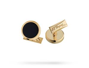 Запонки S.T. Dupont S.T. Dupont, круглые, черный лак, золото  5533