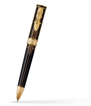 Шариковая ручка Montegrappa Игра Престолов Baratheon, черный лак, желтое золот  GAMOFTH-BAR-BP