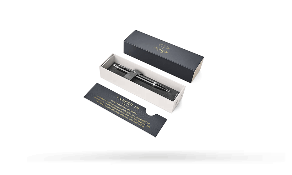 Шариковая ручка Parker IM Metal Black CT ювелирная латунь, покрытая глянцевым черным лаком, нажимного действия 1931665 3501179316659