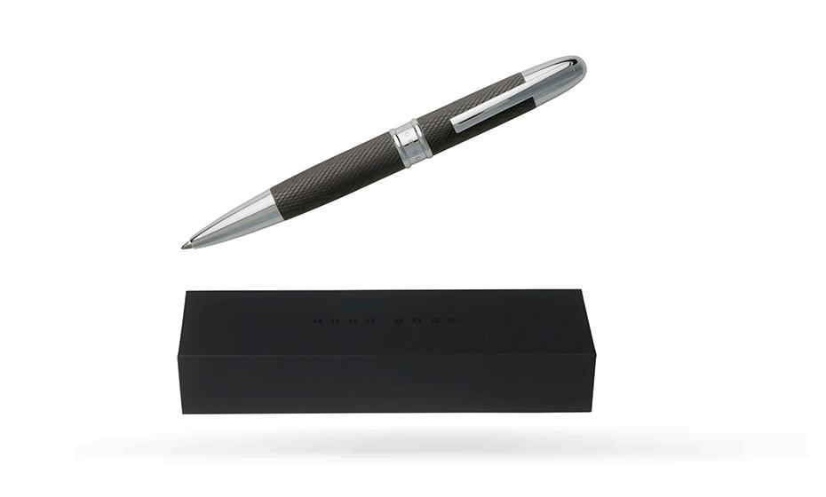 Шариковая ручка Hugo Boss Stripe Matte Dark Chrome, матовый темный хром  HSW7774D