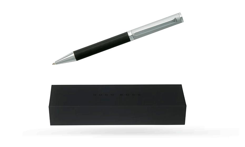 Шариковая ручка Hugo Boss Reverse, черный лак, хром  HSV7644