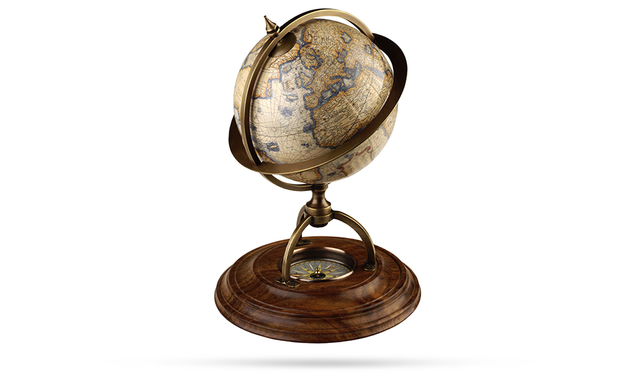 Глобус Authentic Models с компасом, дерево, бумага, бронза, диаметр 21 см  GL019