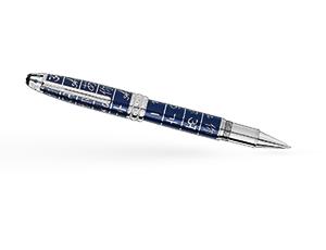 Чернильная ручка Montblanc Драгоценная смола, вставка - синий сапфир, платино  116084