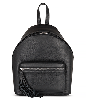 Рюкзак Avanzo Daziaro GRAIN, с обьемным карманом, кожа, черный  AD-018-103201'
