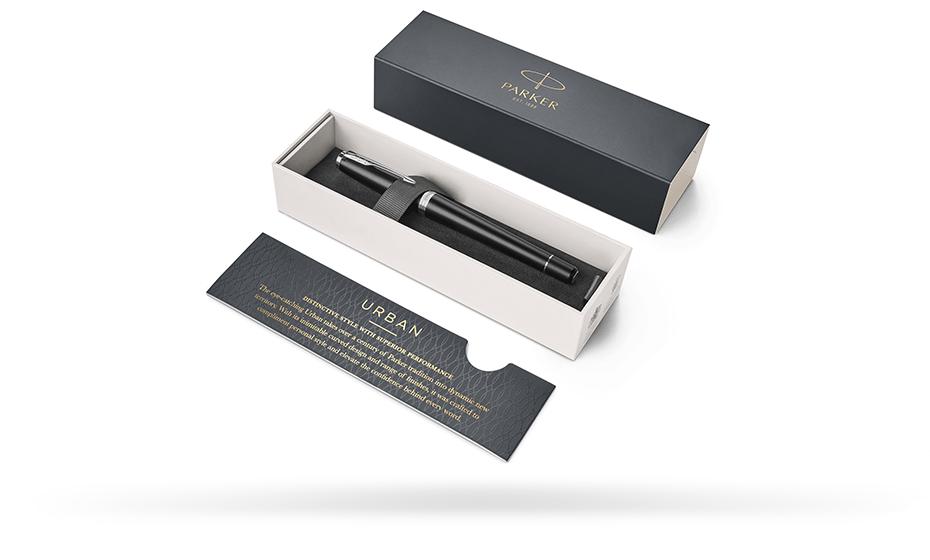 Чернильная ручка Parker Parker Urban Muted Black CT, латунь, лак, хром, че  1931583 351179315836