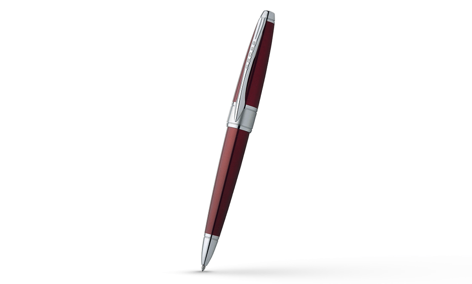 Шариковая ручка Cross Ювелирная латунь, красный лак, родиевое покрытие,  AT0122-3