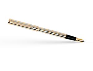 Перьевая ручка Pierre Cardin Evolution, латунь, хром, позолота, серебристая  PC1023FP