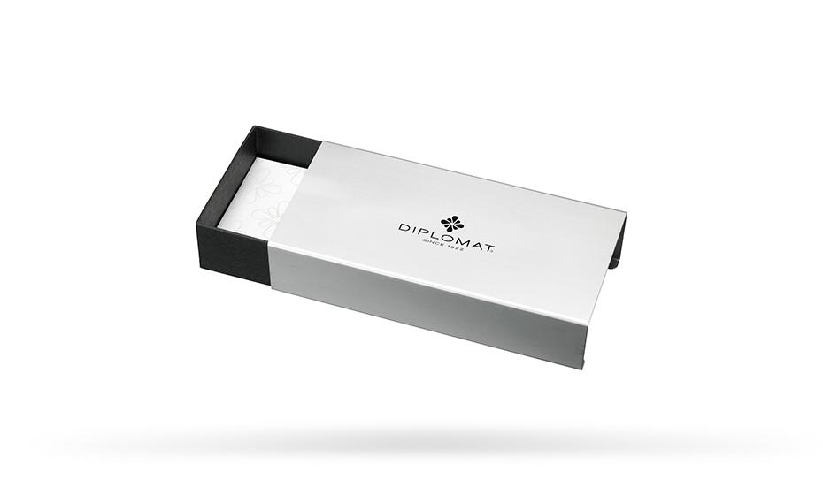 Шариковая ручка Diplomat Traveller, металл, лак, хром, глянцевая, черная  D10424968