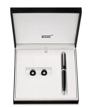 Набор Montblanc PIX, запонки +ручка шариковая, сталь, черный  117598