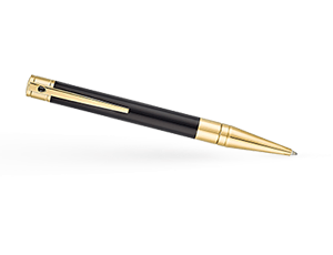 Шариковая ручка S.T. Dupont D-Initial, позолота, черный лак  265202