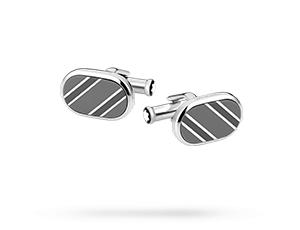 Запонки Montblanc Essential Sartorial, овальные, сталь, полосы, лак,  116659