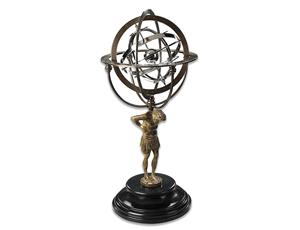 Глобус Authentic Models 18th Атлас несущий Вселенную, серебряные кольца  GL051