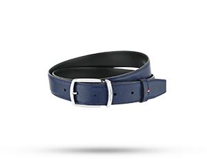 Ремень S.T. Dupont Line D, ширина 35 мм, зернистая кожа, синий  8210162