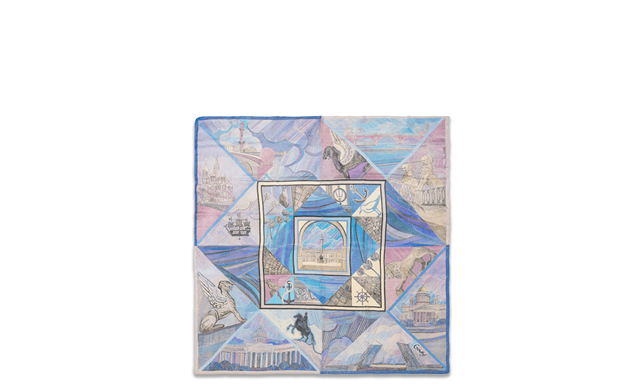 Платок Gourji Gourji «Безусловные знаки», шелк, синий  T26SPB7R'