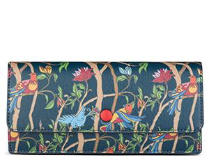 Портмоне Avanzo Daziaro SAFFIANO, с клапаном, кожа, птицы на сине-зеленое  AD-019-1035EG12'