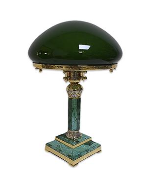 Лампа Старая Грамота настольная из малахита 290*290*425 мм  3201203рв