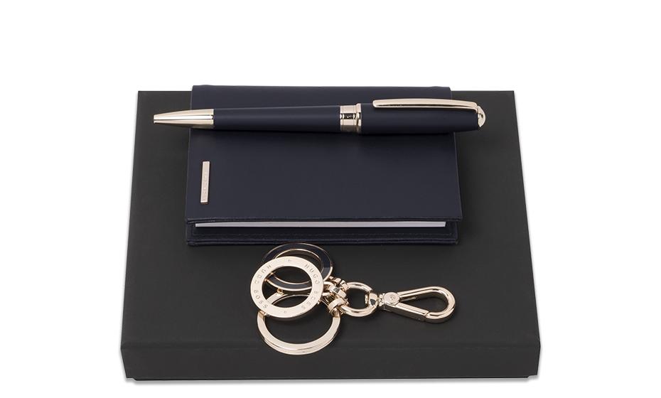 Набор Hugo Boss блокнот + ручка шариковая + брелок  HPBKM707N