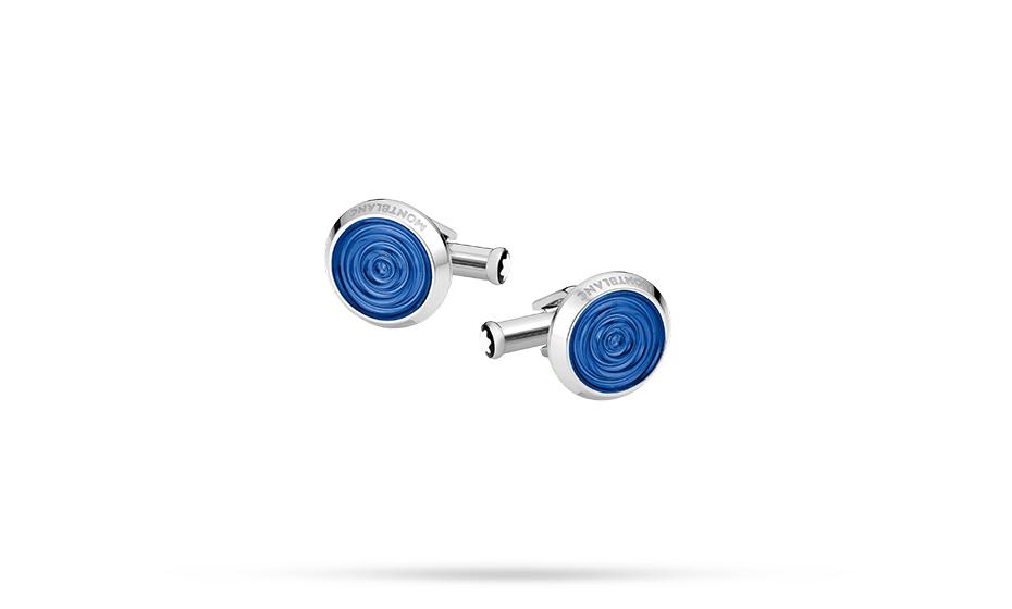 Запонки Montblanc Urban Spirit, сталь, смола, синий  116655