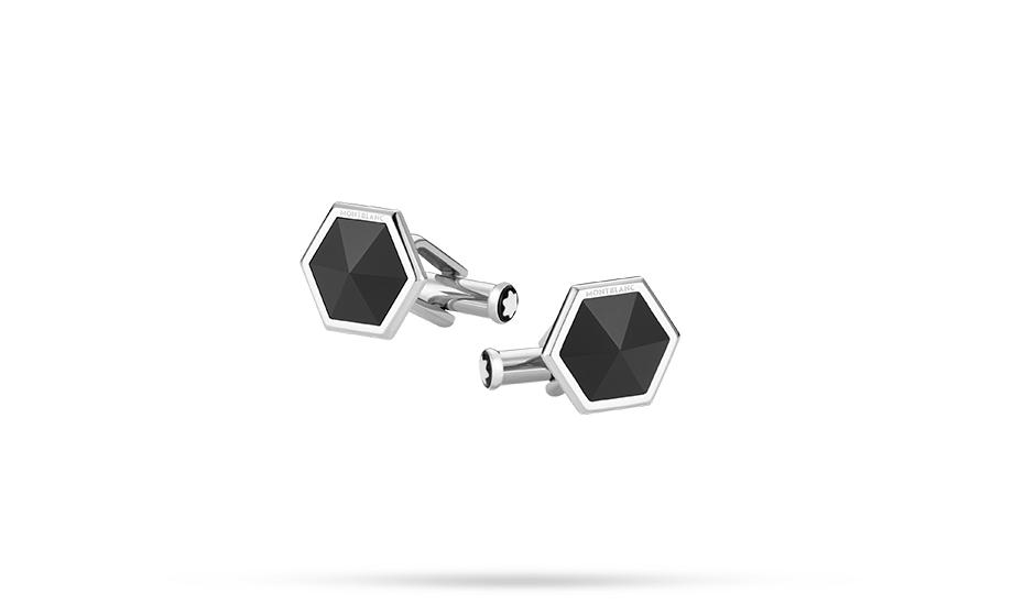 Запонки Montblanc Sartorial, шестиугольник, сталь, черный оникс  118599