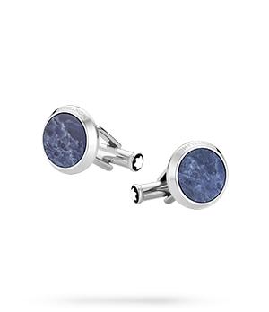 Запонки Montblanc Sartorial, круглые, сталь, содалит, синий  118610