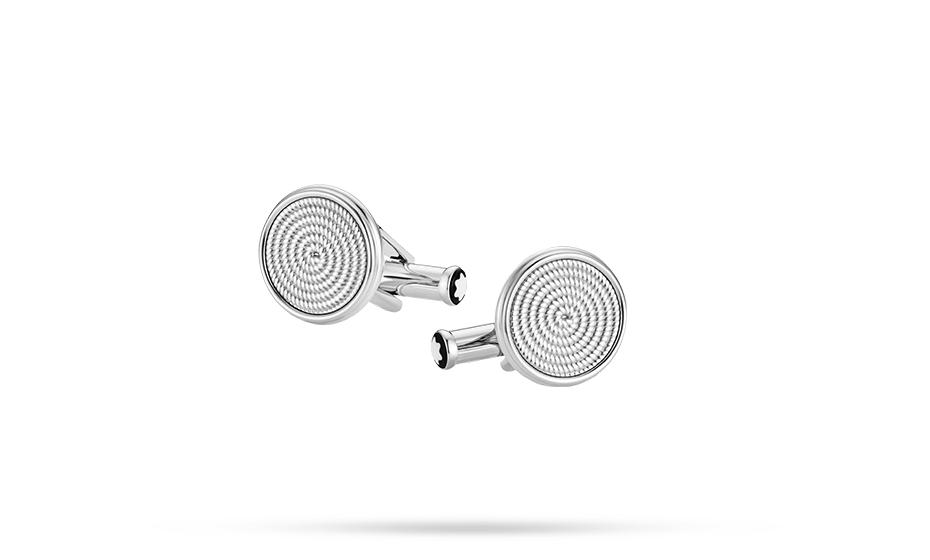 Запонки Montblanc Sartorial, круглые, сталь, веревочный узор  118612