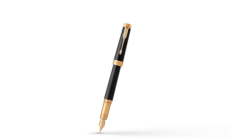 Перьевая ручка Parker Parker Premier Deep Black Lacquer GT, лак, латунь,  1931409