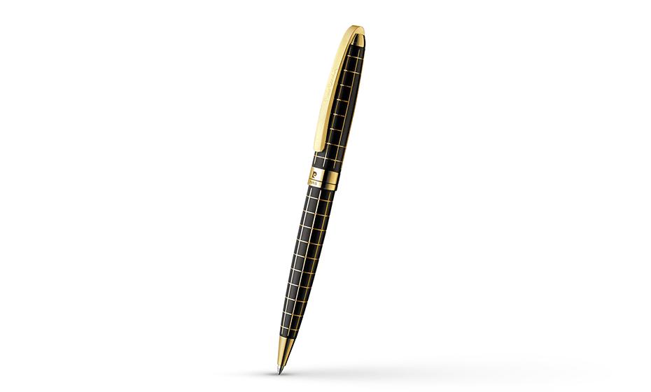 Шариковая ручка Pierre Cardin Progress, латунь, лак, позолота, черная  PC5000BP-02G