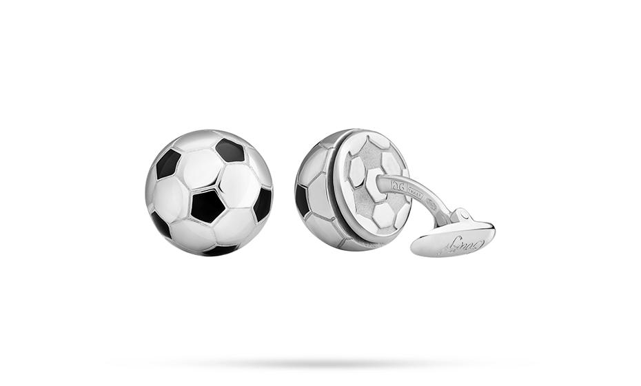 Запонки Gourji Gourji Мяч, серебро, родий, черная эмаль  INFBALL-S'