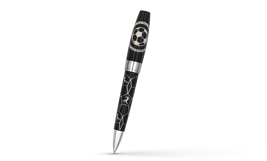 Шариковая ручка Montegrappa Fortuna football 2018, сетка, смола, сталь, черная  FORT-FB-N-BP