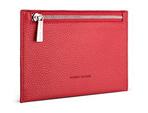 Косметичка Avanzo Daziaro GRAIN, плоская, на молнии, кожа, красная  AD-018-221304'