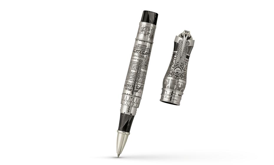 Чернильная ручка Montegrappa Thoth - бог письма, черный целлулоид, серебро  THOTH-RB