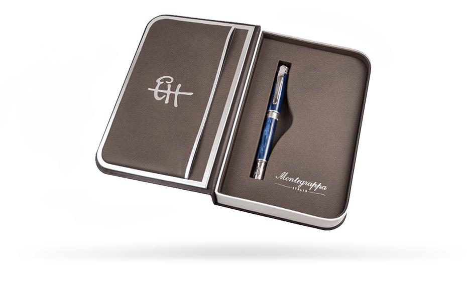 Чернильная ручка Montegrappa Хемингуэй - Fisherman, серебро, целлулоид, синяя  HEM-FISH-RB