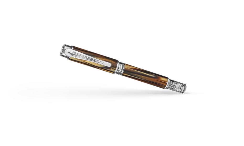 Перьевая ручка Montegrappa Хемингуэй, перо F, серебро, целлулоид, коричневая  HEM-W-FP