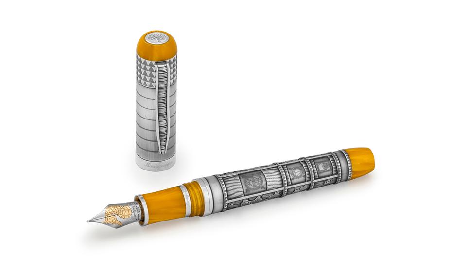 Перьевая ручка Montegrappa MEMORY,перо F, желтый целлулоид, серебро  MEMORY-FP