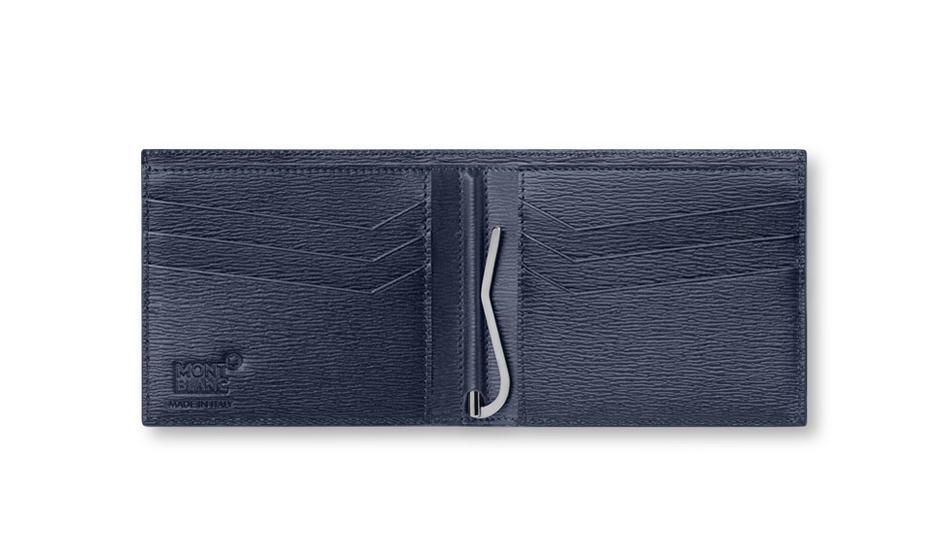 Бумажник Montblanc 4810 Westside, 6сс, зажим для купюр, кожа, синий  118654