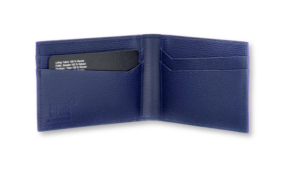 Визитница Montblanc Montblanc, 8сс, складная, кожа, синяя  118661