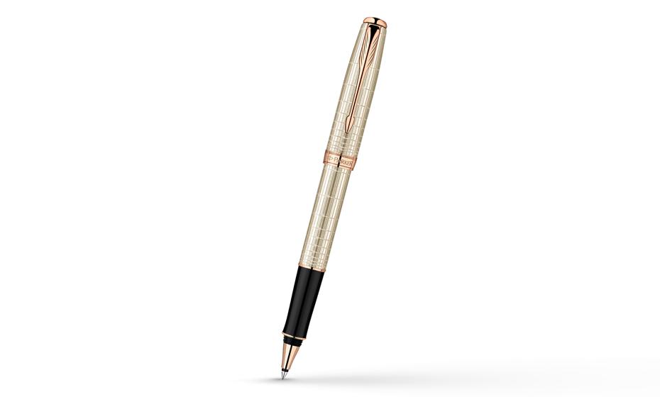 Чернильная ручка Parker Sonnet, латунь, розовое золото, гравировка, серебр  1859491-S