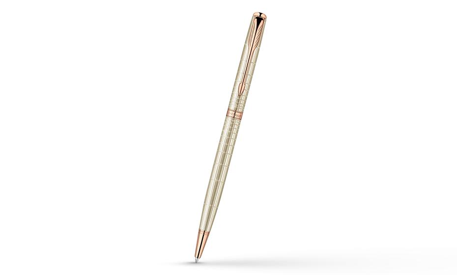 Шариковая ручка Parker Sonnet, латунь, розовое золото, гравировка, серебр  1859495-S
