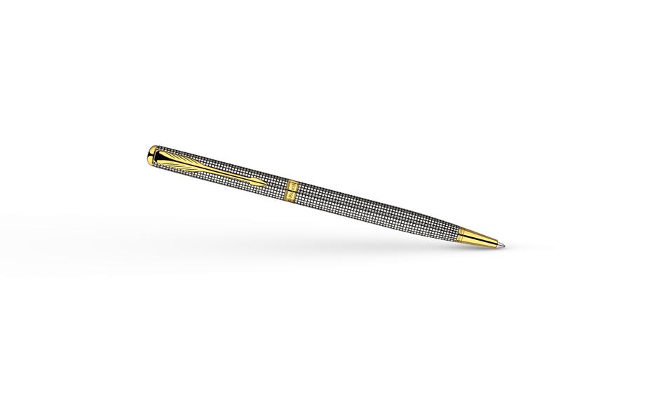 Шариковая ручка Parker Parker Sonnet Slim, позолота, гравировка, серебро,  S0808180-S