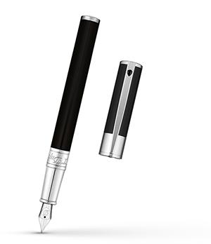 Перьевая ручка S.T. Dupont D-Initial, лак, хром, черная  260203