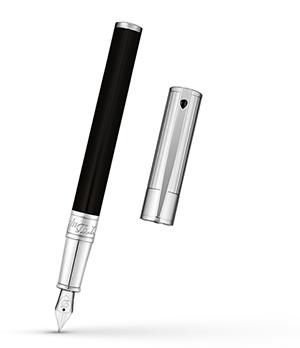 Перьевая ручка S.T. Dupont D-Initial, лак, хром, черная  260204